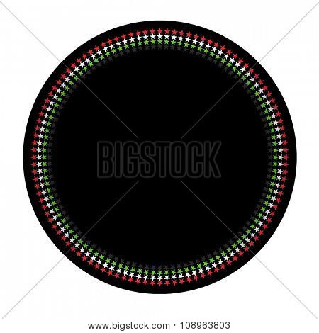 A starry graphic border with UAE flag colors. vector design.