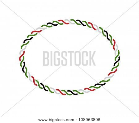 An oval vector border. UAE national day design elements.