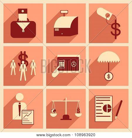 Modern flat icons vector collection with shadow economy money business