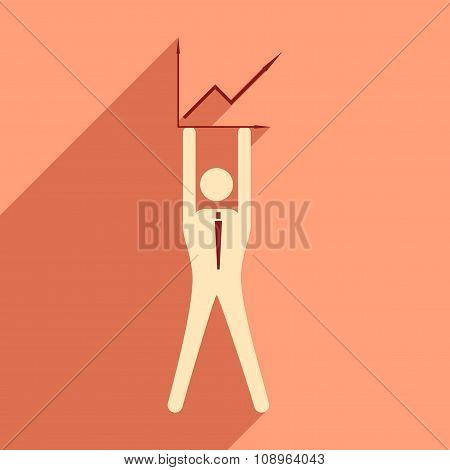Flat design modern vector illustration icon businessman and graph