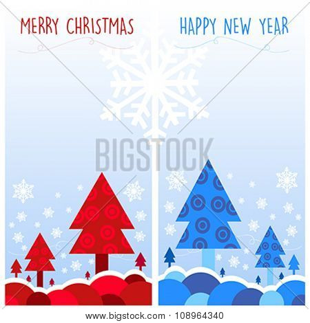 Christmas cards vector illustration. Blue and Red
