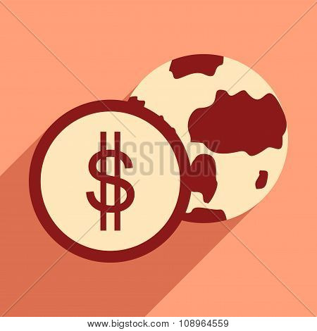 Flat design modern vector illustration icon Globe and coin