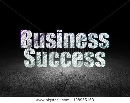 Business concept: Business Success in grunge dark room