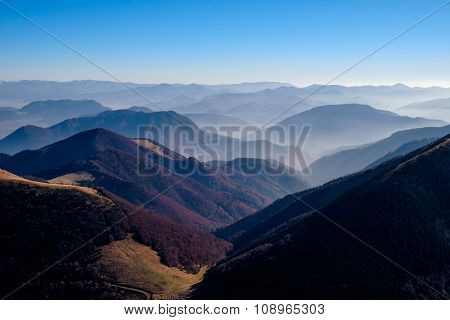 Landscape View Of Beautiful Autumn Mountains, Slovakia
