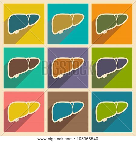 Icons of assembly human liver in flat style