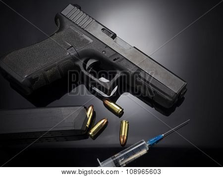 Pistol gun on black background