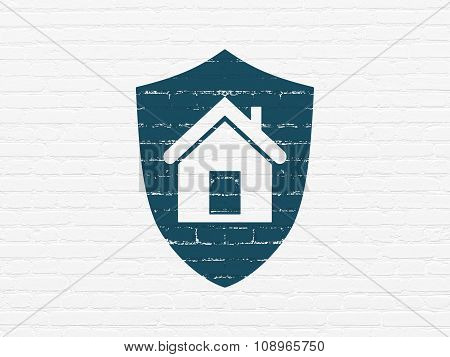 Business concept: Shield on wall background
