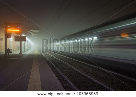 Railway Station In The Fog