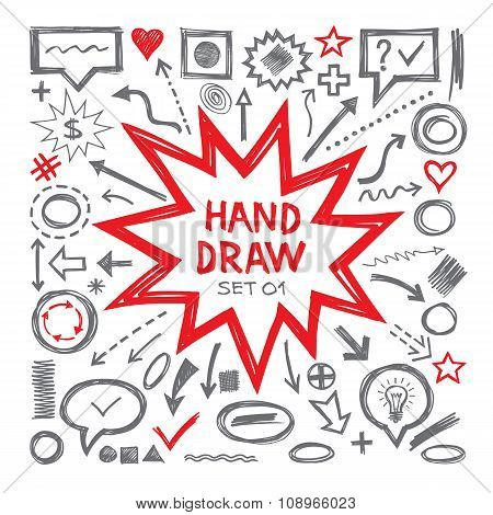 Hand draw vector illustrations. Arrows, objects, balloons and other design elements.