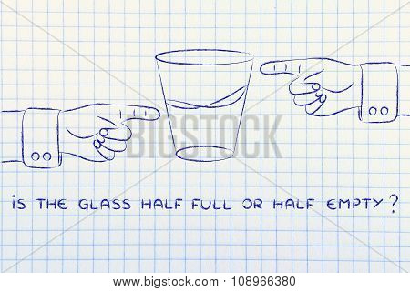 Glass Of Water And Hands Pointing, With Text Is The Glass Half Full Or Half Empty