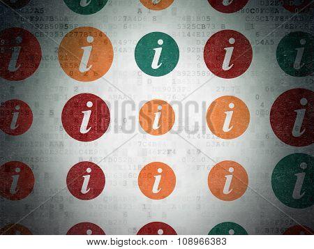 Web development concept: Information icons on Digital Paper background