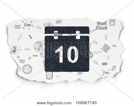 Timeline concept: Calendar on Torn Paper background
