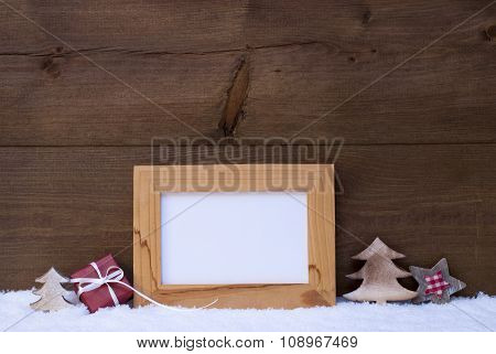 Frame With Red Christmas Decoration, Copy Space, Snow