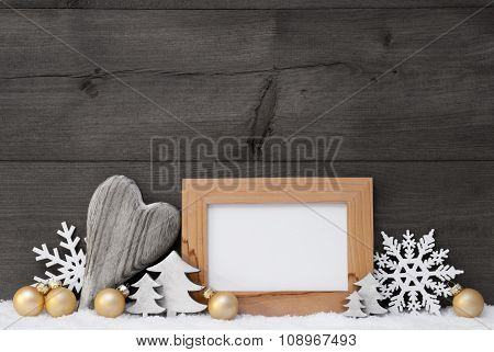 Golden Gray Christmas Decoration, Snow, Copy Space