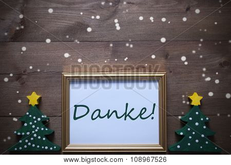 Frame With Christmas Tree And Danke Means Thank You, Snowflakes