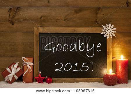 Festive Christmas Card, Blackboard, Snow, Candles, Goodbye 2015