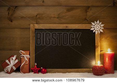 Festive Christmas Card, Blackboard, Snow, Copy Space