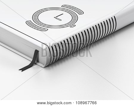 Time concept: closed book, Watch on white background