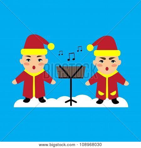 flat icon on blue background children sing carols
