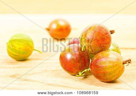 ripe green and red gooseberries