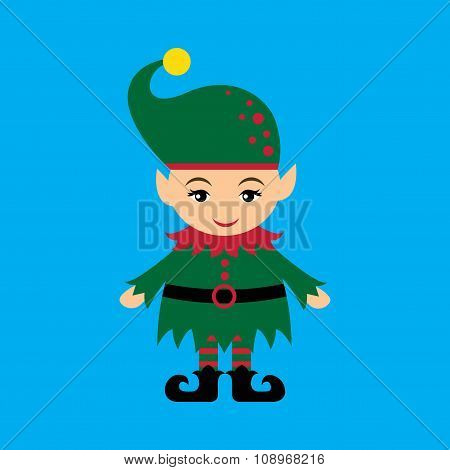 flat icon on blue background christmas gnome