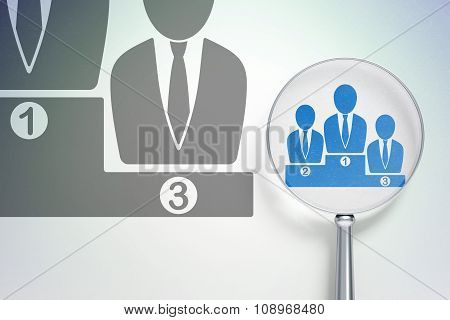 Marketing concept:  Business Team with optical glass on digital background