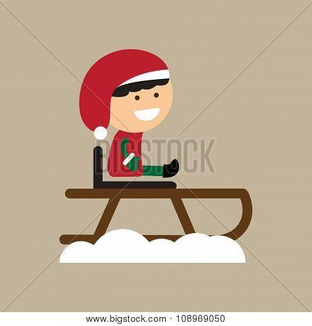 flat icon on stylish background boy on sled