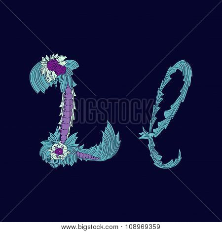 Abstract letter L logo icon  in Blue tropical style