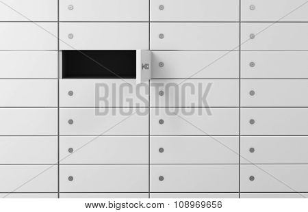 White Safe Deposit Boxes In A Bank, One Box Is Open. A Concept Of Storing Of Important Documents Or