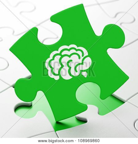 Medicine concept: Brain on puzzle background