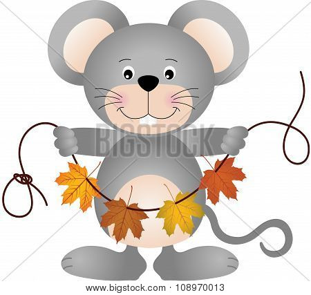Mouse holding a garland of fall leaves