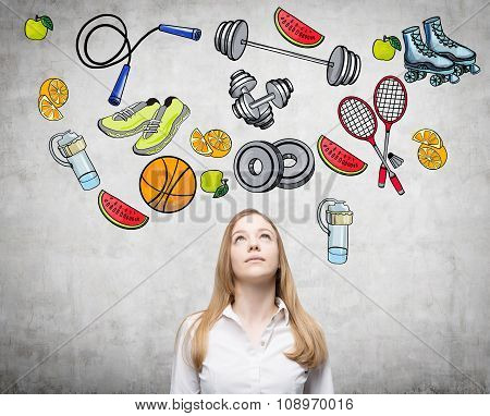 Pondering Beautiful Lady Is Thinking About Her Choice Of Sport Activity. Colourful Sport Icons Are D