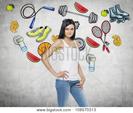 Pondering Beautiful Brunette Lady Is Thinking About Her Choice Of Sport Activity. Colourful Sport Ic