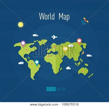 world map with marks ways pointers satellite airplane sun clouds