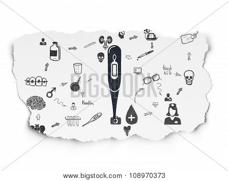 Health concept: Thermometer on Torn Paper background