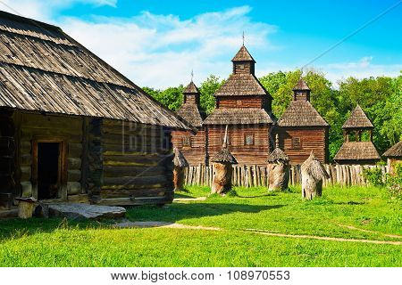 Old Wooden House Near Old Wooden Church
