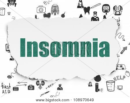 Health concept: Insomnia on Torn Paper background