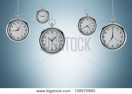 Four Models Of Pocket Watches Are Hovering In The Air. A Concept Of A Value Of Time In Business. Lig