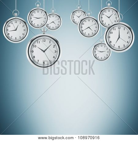 Several Models Of Pocket Watches Which Are Hovering In The Air. A Concept Of A Value Of Time In Busi