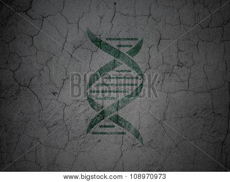 Medicine concept: DNA on grunge wall background