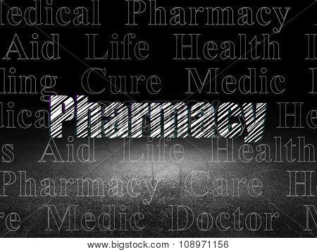 Health concept: Pharmacy in grunge dark room