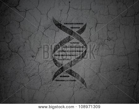 Healthcare concept: DNA on grunge wall background