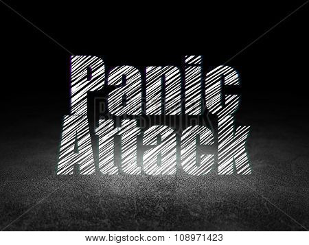 Health concept: Panic Attack in grunge dark room