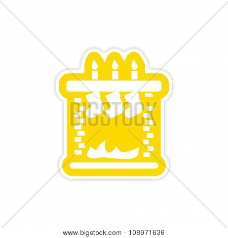 paper sticker on white background Christmas fireplace