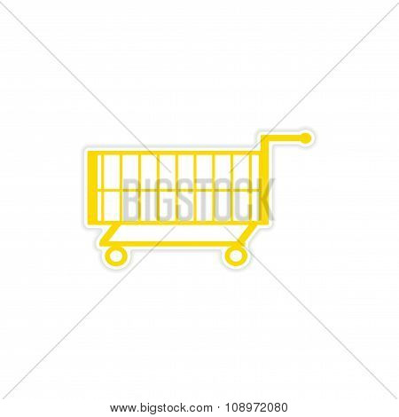 icon sticker realistic design on paper trolley