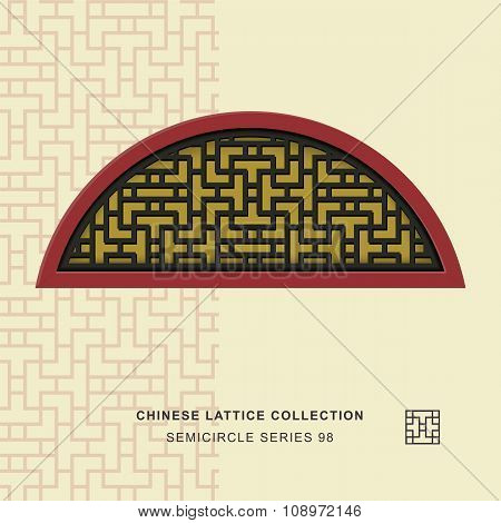 Chinese window tracery semicircle frame 98 cross line