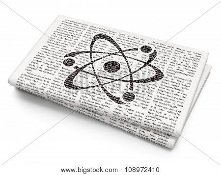 Science concept: Molecule on Newspaper background