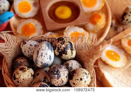 Quail Eggs And Fried Quail Eggs Of Delicious.