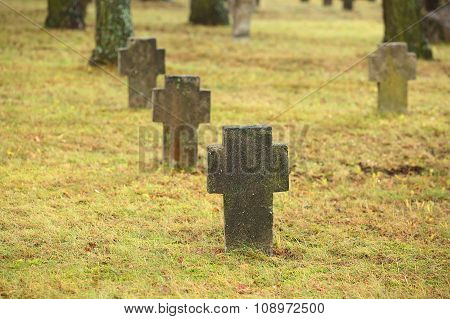 Tombstones Crosses On Old Cemetry