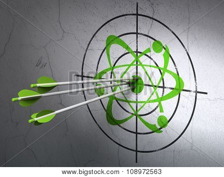 Science concept: arrows in Molecule target on wall background
